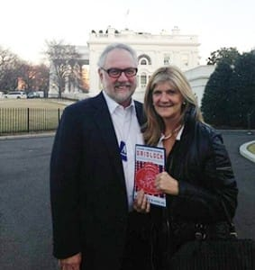 "Carol Bailey and her husband Steve before meeting Vice President Joe Biden in the White House and offering him her pamphlet which she calls, ""Divorce Mediator's Guide For The Dysfunctional Congressional Marriage."""